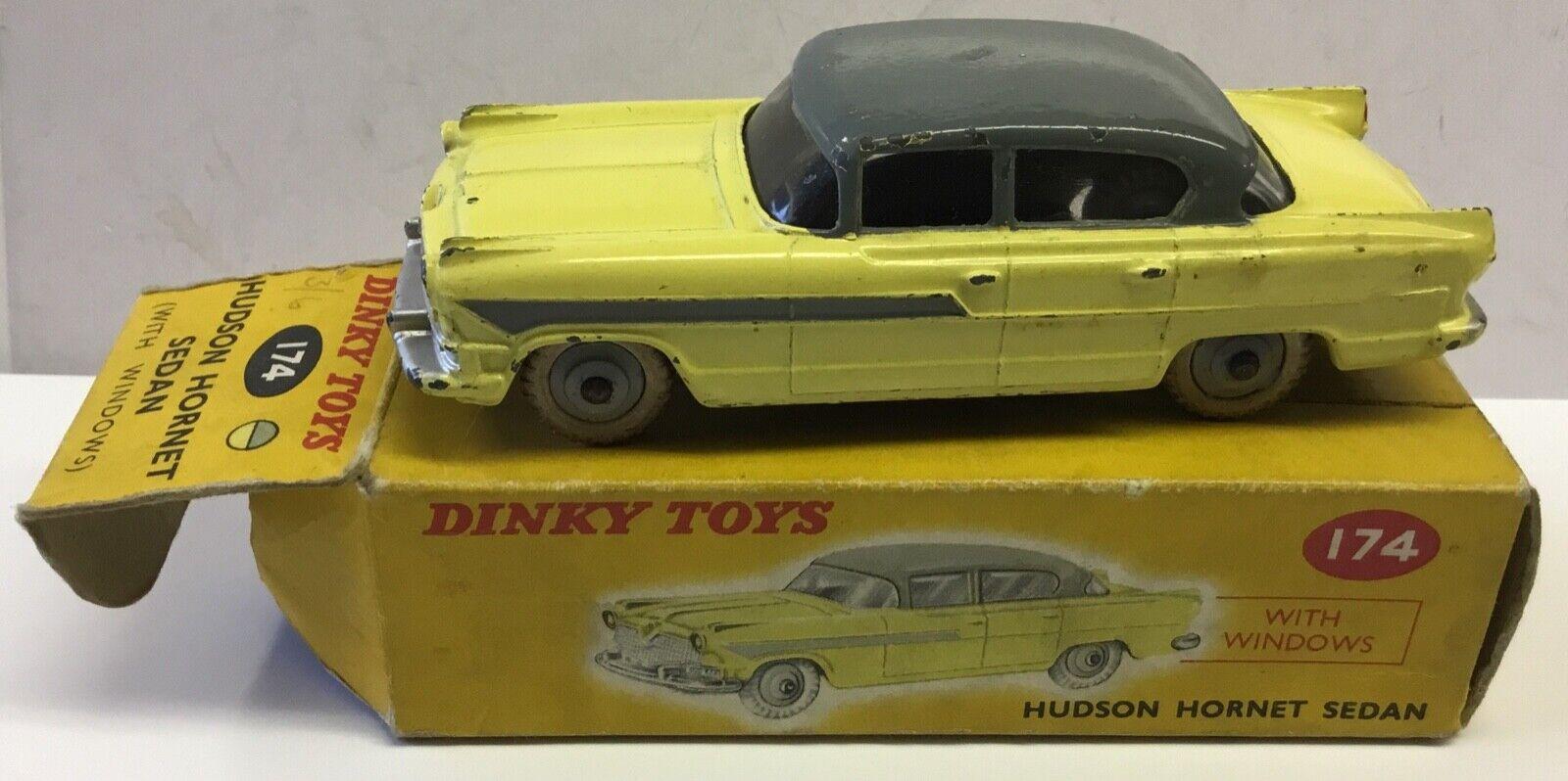 DINKY TOYS 174 HUDSON HORNET SEDAN WITH ORIGINAL BOX.MILD WEAR TO BOTH