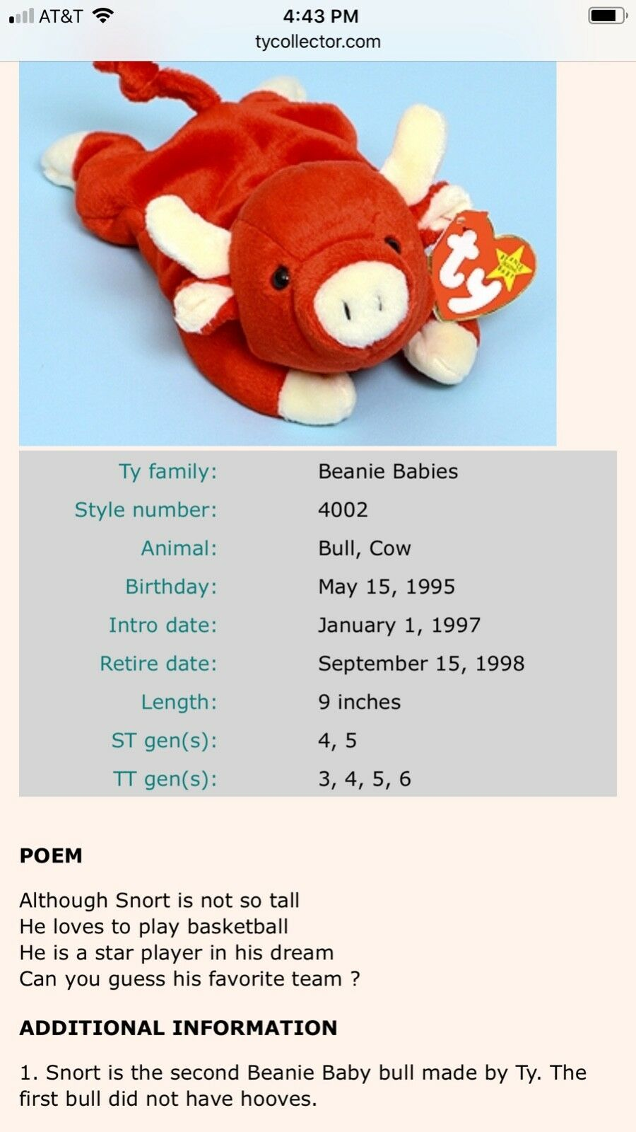 Ty Beanie Baby Snort Snort Snort the Bull 1995 with tags - Mint Condition a4527b