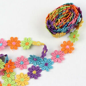 3-Yds-Colourful-Daisy-Flower-Venice-Lace-Applique-Sewing-Trims-Trim-for-Kids