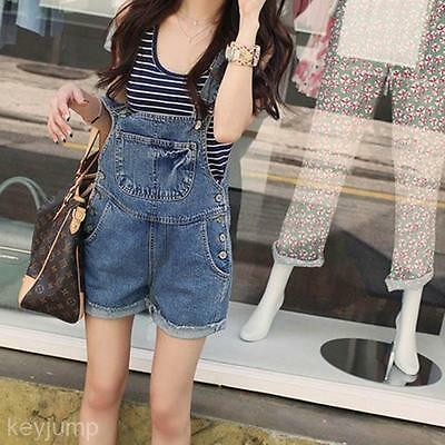 Stylish Women's Loose Denim Jumpsuit Curling Denim Bib Overall Short Pants Cute
