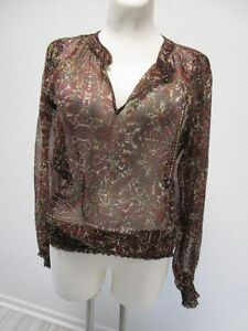 VERO-MODA-Damen-Bluse-Tunika-Transparent-Mehrfarbig-Langarm-Gr-L