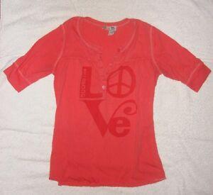 Billabong-Junior-Teen-1-2-sleeve-T-Shirt-Medium-LOVE-logo-salmon-tee-surfer