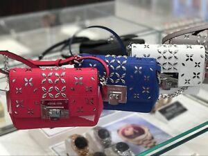 3baec710dd07 Michael Kors Tina Stud Small Clutch Bag Crossody Floral Perforated ...