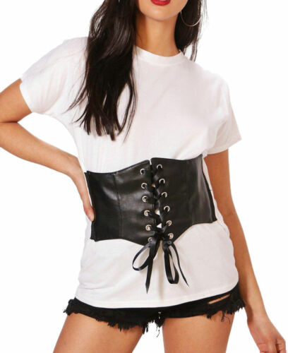 Womens Ladies PU Corset Oversized T-Shirt Top Waist Belt Clincher Lace Tie Up
