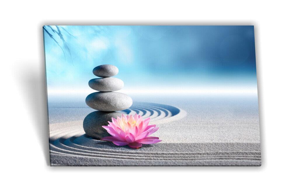Leinwand-Bild Leinwand-Bild Leinwand-Bild Keilrahmen-Bild SPA Wellness SeeRosa Steine Sand Grau Rosa af6167