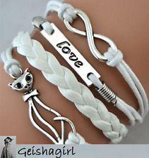 Leather Wrap Bracelet Infinity Cat Love Charm Friendship UK Seller
