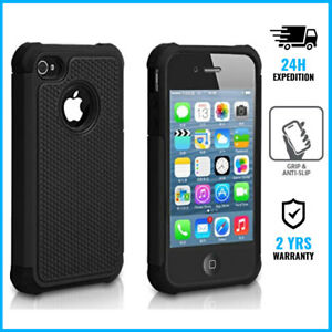 Hybrid-Armor-Cover-Cas-Coque-Etui-Silicone-TPU-Hoesje-Case-Black-For-iPhone-4-4S