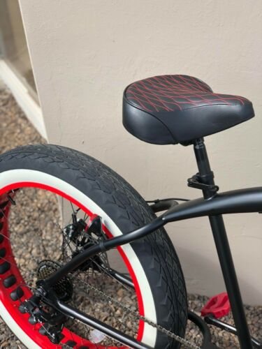 Custom Beach Cruiser Comfortable Bicycle Seat RED STITCHING
