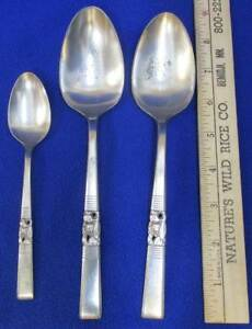 Serving-Spoons-Oneida-Silver-Plate-Community-Morning-Star-1-Teaspoon-Lot-of-3