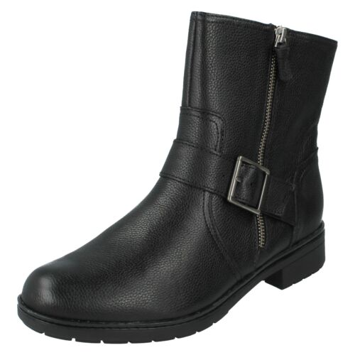 Black Ankle Heel Clarks Ladies Smart Size Lynn Zip Low Casual Boots Leather Up Merrian xUYfYOw