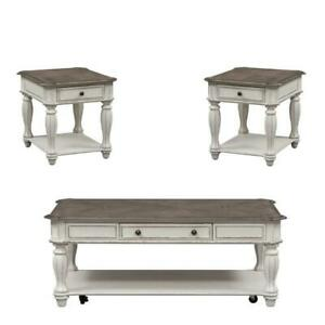 Set Of 2 End Table N Rustic White