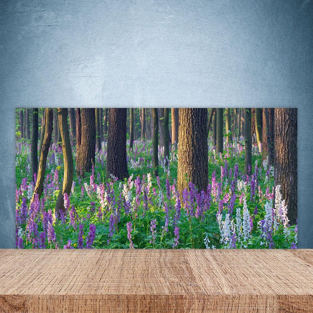 Vidrio Templado Cocina salpicaduras 100x50 Bosque Flores Naturaleza