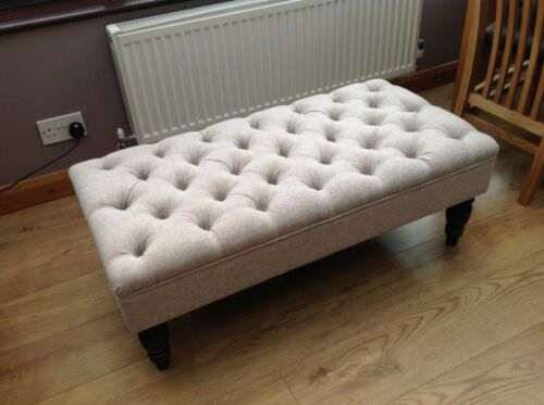 Large deep buttoned foot stool