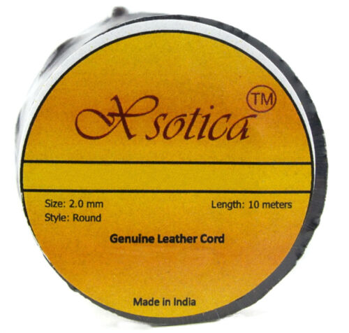 11 yards Xsotica® Brown Distressed Round Leather Cord 2mm 10 meters