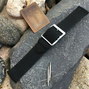 18mm-19mm-Perlon-rare-2pc-1960s-70s-NOS-Vintage-Watch-Band-Black-amp-Silver-Buckle