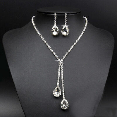 Wedding Bridal Prom Rhinestone Crystal Drop Necklace Earring Plated Jewelry Set
