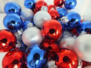 Patriotic Christmas.Details About Red White Blue 100 Mini Glass Ornaments Hand Made Patriotic Christmas New