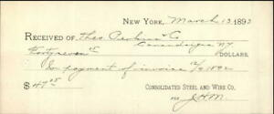 1893 New York New York (NY) Receipt Consolidated Steel & Wire & Co.