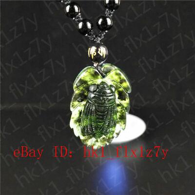 Fashion China hand-carved green jade cicada Pendant Necklace Amulet