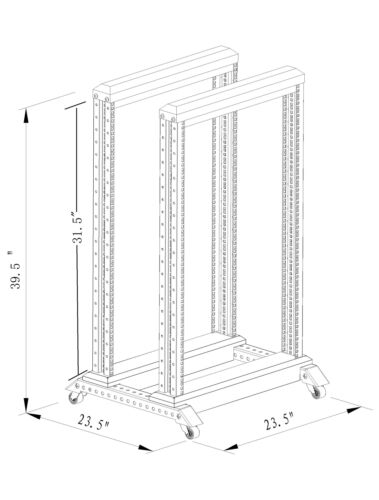 "15U 4 Post Open Frame 19/"" Server//Audio Steel Rack 17/"" Deep"