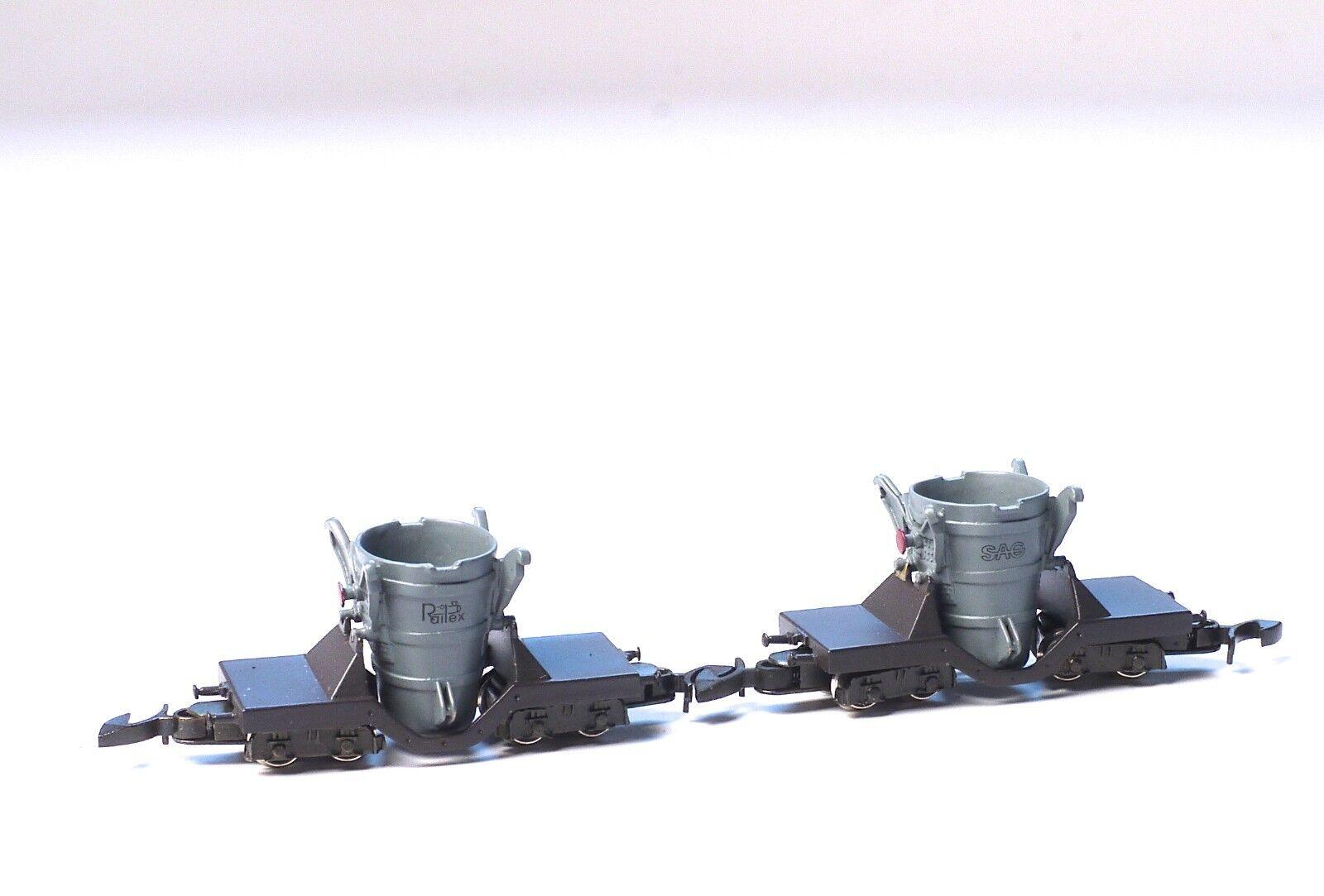 2 each Railex Z-scale Metal Foundry car RR hand built Brass Marklin Z couplers