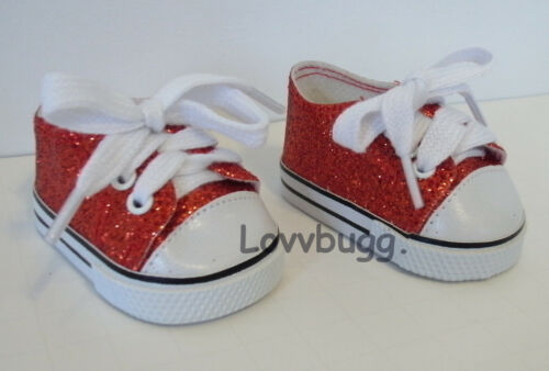 """Red Ruby Sparkle Glitter Sneakers for American Girl 18/"""" Doll Shoes Dorothy"""