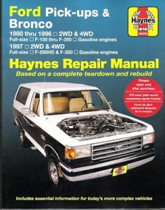 1980 1996 ford f100 f150 f250 f350 bronco haynes repair service shop rh ebay ie 1996 ford f150 service manual pdf free 1996 Ford F-150