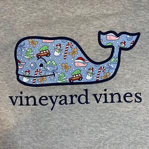 Vineyard-Vines-Mens-Holiday-Icon-Whale-Fill-Pocket-L-S-Gray-T-shirt-Sz-L-NEW