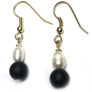 Image Is Loading Black Onyx Pearl Earrings Hypoallergenic Surgical Steel Gold