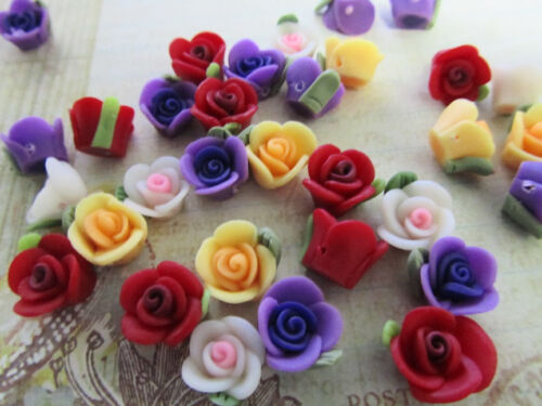 40 Fimo Clay 4D Rose Flower Flatback//bead//beading//Craft//Rosebud//Holes B60-Red