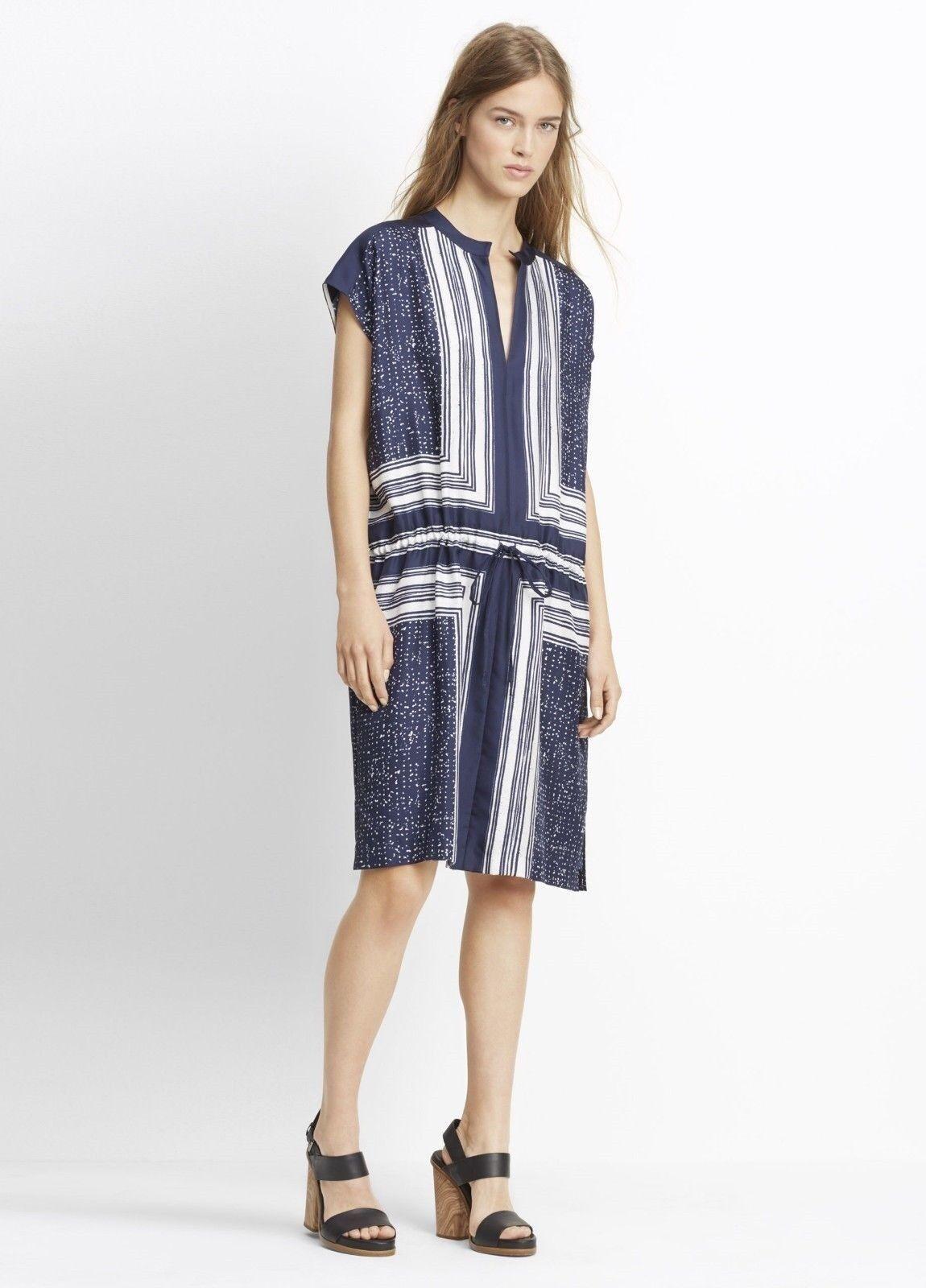 Vince Scarf Print Popover Drawstring silk Navy White Navy Dress NWT XS L