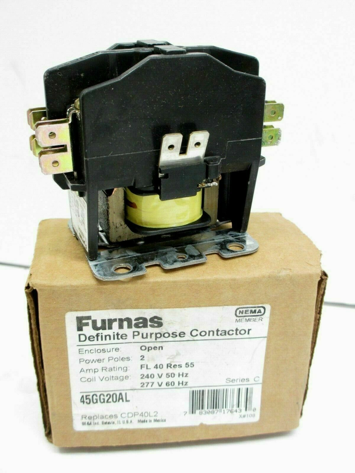 240V Dual Purpose 20 AMP FURNAS ELECTRIC CO 45CG20AG Open 2 Pole CONTACTOR Discontinued by Manufacturer