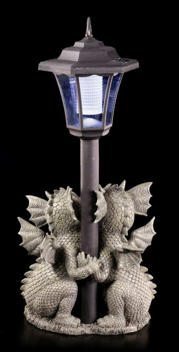 Drachen Gartenfigur mit Solar Lampe - Loving Dragons - - - Laterne Fantasy Garten df21f6