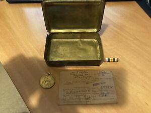 Princess Mary1914 Christmas Tin With Paperwork,Coin,Ribbon
