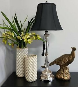Details About 2 X Felicienne Black Table Lamps Polyresin Perspex W Tassell Bell Shade 84cm