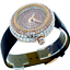 miniature 1 - 14k Rose Gold Custom Unisex Round Baguette Cut Leather Wrist Watch Simulated New