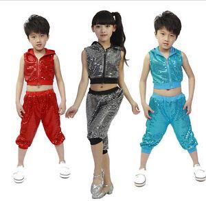 5cb15374e Children Jazz Dance Costumes for Boy and Girl Hip Hop Leotard Dance ...