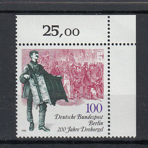 Berlin-Briefmarken-1990-200-Jahre-Drehorgel-Mi-Nr-872-postfrisch-Ecke