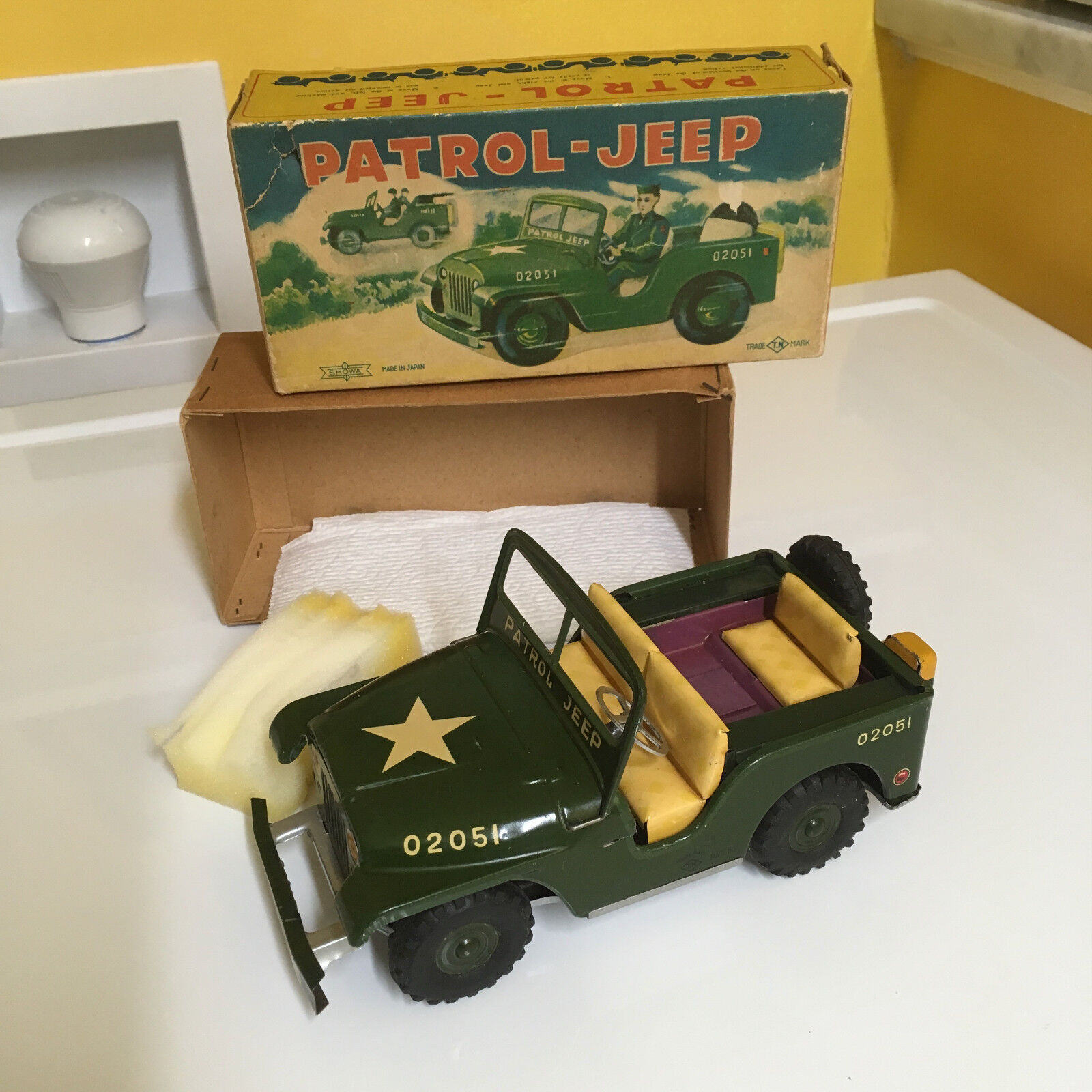 VINTAGE NOMURA FRICTION DRIVE PATROL-JEEP WORKING W ORIGINAL BOX   MADE BY SHOWA