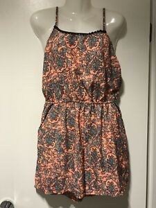 Womens-Orange-Floral-Jumpsuit-Size-8-possibly-small-10