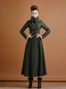 Women-039-s-Full-Length-Long-Wool-Overcoat-Slim-Double-breasted-Military-Trench-Coat
