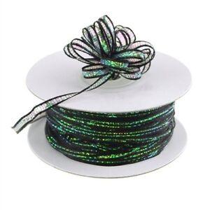 3mm-3-8-034-Organza-Pull-bow-ribbon-Black-iridescent-50-yd