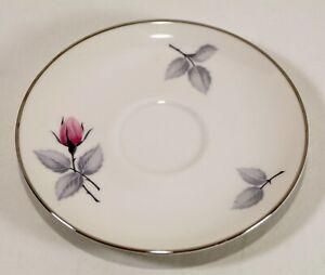 "Vintage Syracuse Bridal Rose Saucer Plate 5 3/4"" White Pink Gray USA silver trim"