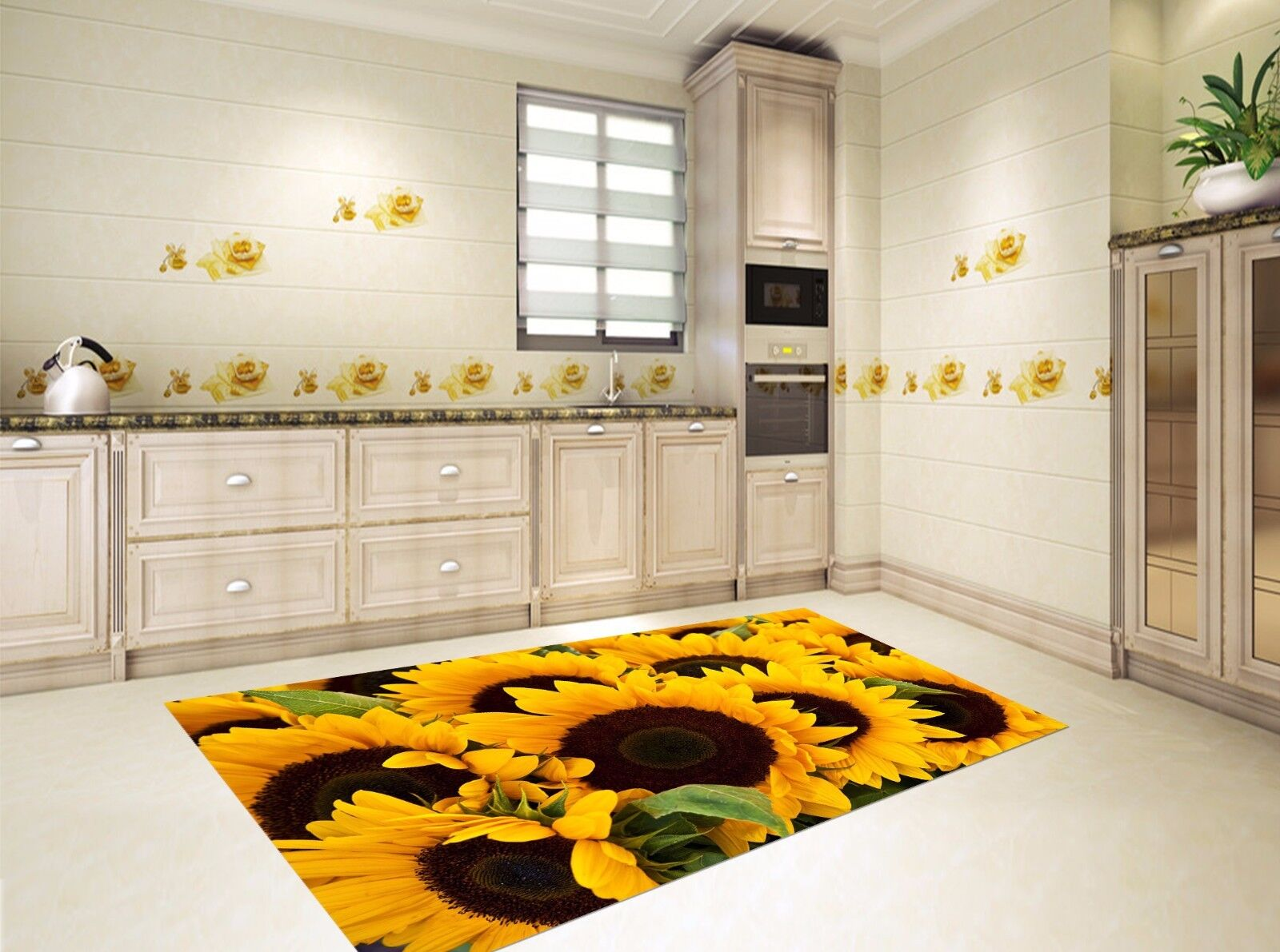 3D Yellow Sunflower 845 Kitchen Mat Floor Murals Wall Print Wall Deco UK Carly