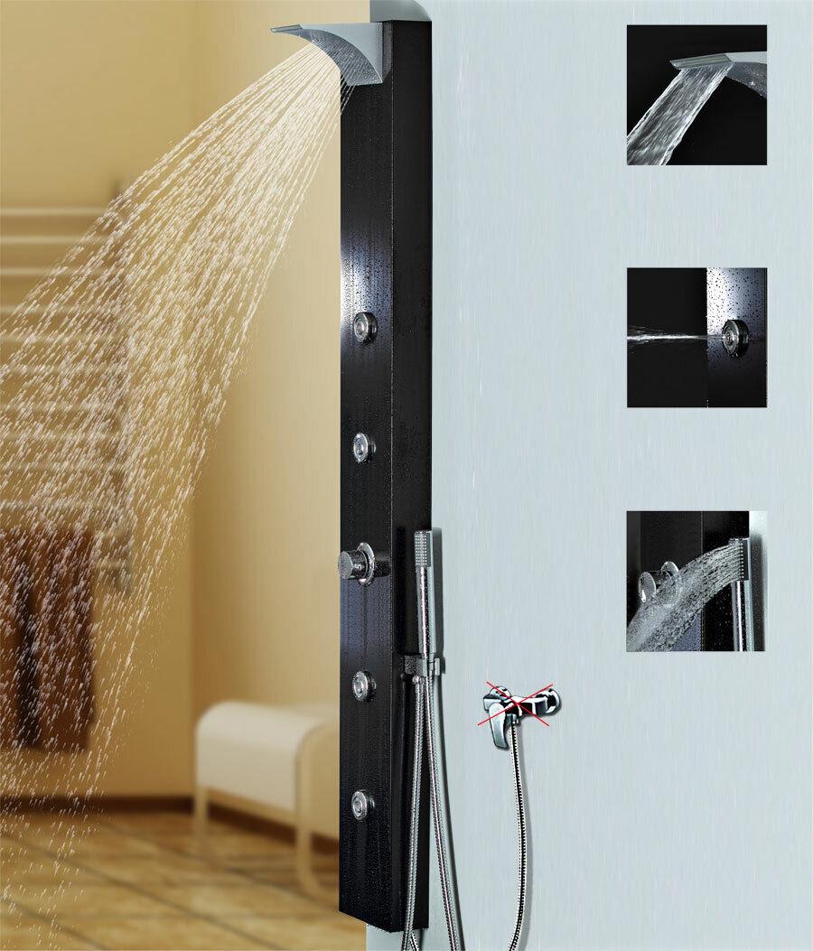Noir Aluminium Panneau de douche avec cascade Rainshower Massage Sanlingo