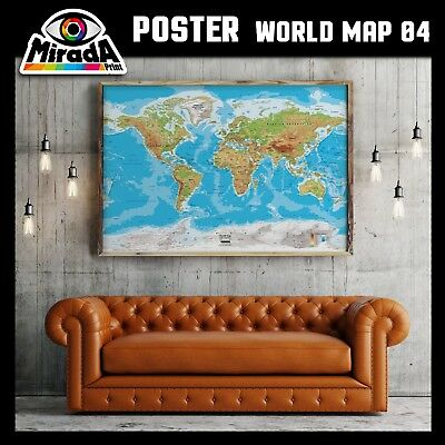 POSTER MAPPA MONDO WORLD MAP 01 CARTA FOTOGRAFICA QUALITA/' 35x50 50x70 70x100