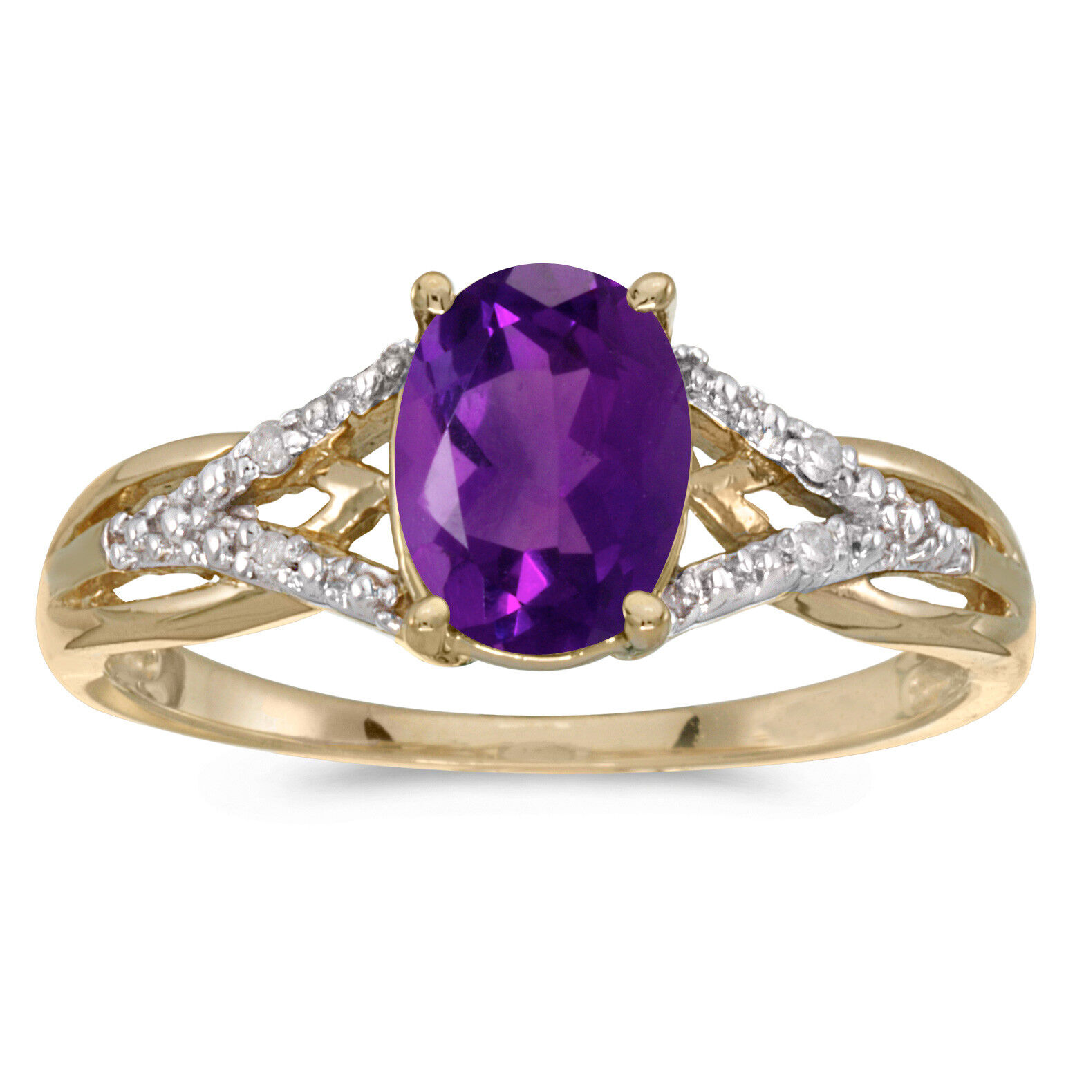 14k Yellow gold Oval Amethyst And Diamond Ring