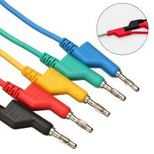 5x Test Probe Lead Wire Cable Silicone Banana Plug To Crocodile Alligator Clip