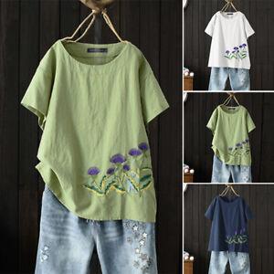 ZANZEA-8-24-Women-Floral-Embroidered-Top-Tee-T-Shirt-Cotton-Plus-Size-Blouse