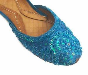 handmade blue beaded leather khussa ballet flats